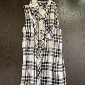 Rails black and white plaid shirt-vest